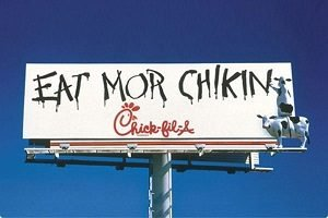 Chick Fil A famous cow billboard