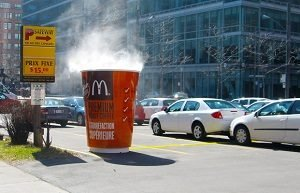Giant McDonalds steaming coffee cup ad