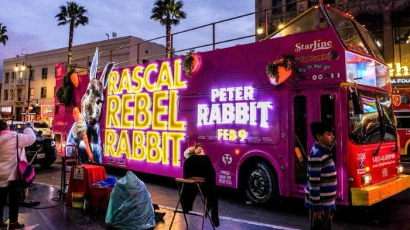 3D Peter Rabbit bus wrap