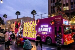 3D bus wrap promoting Peter Rabbit movie