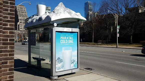 3D bus stop advertising