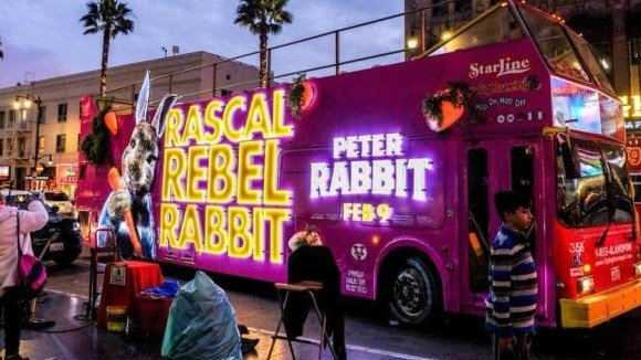3D illuminated Peter Rabbit bus wrap
