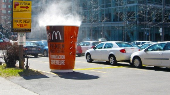giant McDonald's coffee cup guerilla marketing