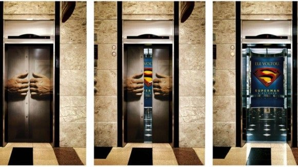 Superman Guerilla Marketing Elevator Ad