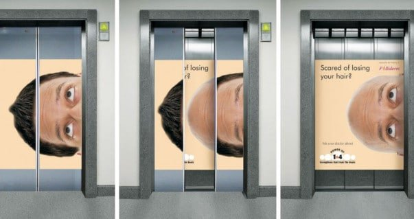 Hair loss Guerilla marketing elevator ad