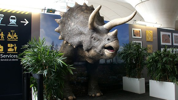 3D printed triceratops in Paris train station